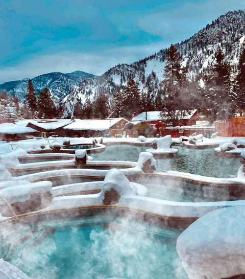 View of Quinns Hot Springs in winter
