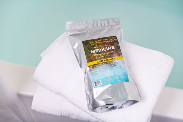 A pouch of Medicine Springs Joint Formula mineral therapy product