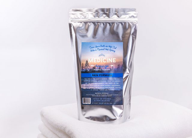 A pouch of Medicine Springs Skin Formula mineral therapy product