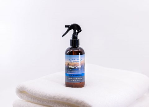 A spray bottle of Medicine Springs product. This is the Skin Formula mineral therapy.