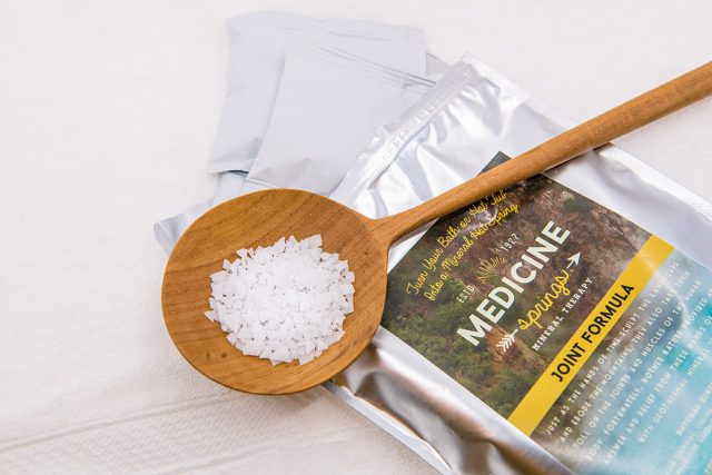 Sample of Medicine Springs Joint Formula mineral therapy product, showing contents of pouches