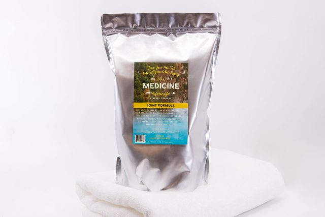 A pouch of Medicine Springs Joint Formula mineral therapy product.
